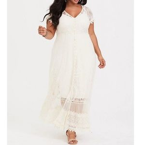 Torrid lace ivory maxi dress NWT